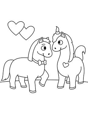 ausmalbild verliebte pferde zum ausmalen. #ausmalbilder