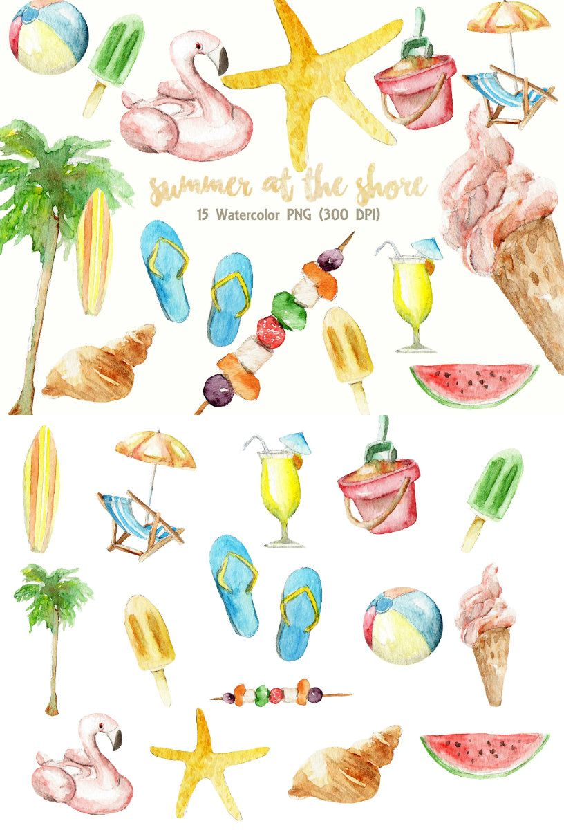 Summer Clipart Watercolor Digital Download Beach Party Vacation