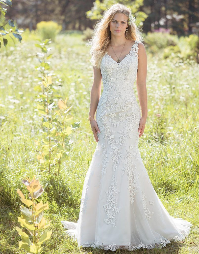 Lillian West 6486 - Romantic florals adorn this fit and flare and ...