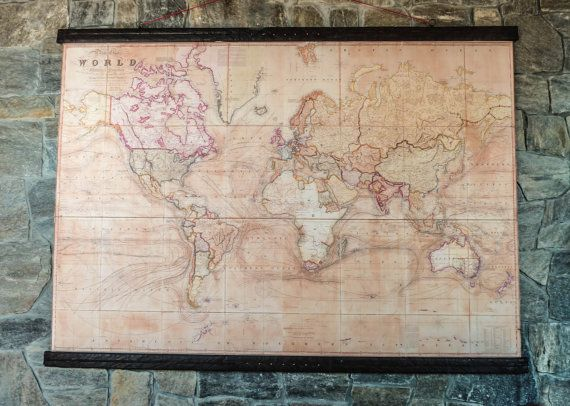 Very rare world map 1800 canvas antique woden iron pirate frame very rare world map 1800 canvas antique woden iron pirate frame giant wall decor gumiabroncs Image collections