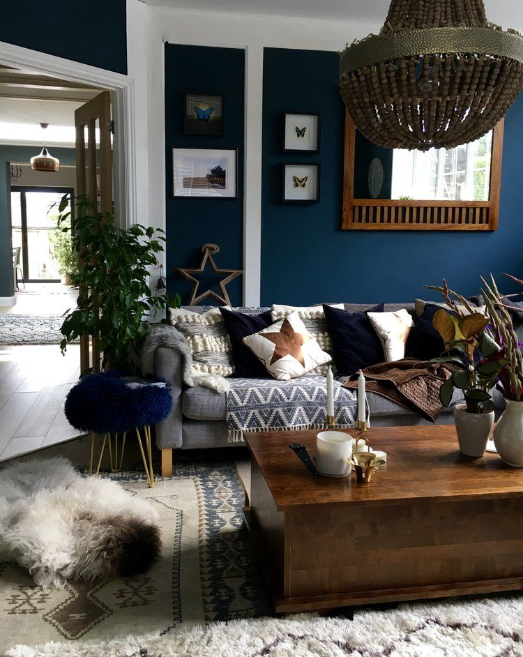 Dark Blue Walls What S Not To Love Hornsby Style Dark Living Rooms Blue Walls Living Room Dark Blue Living Room