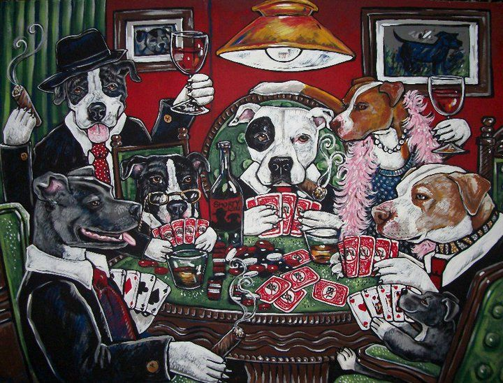 Shorty S Pit Bulls Playing Poker Painting Hanging In The Home Of Shorty Rossi By Dawn Tarr Dogs Playing Poker Postcard Dogs