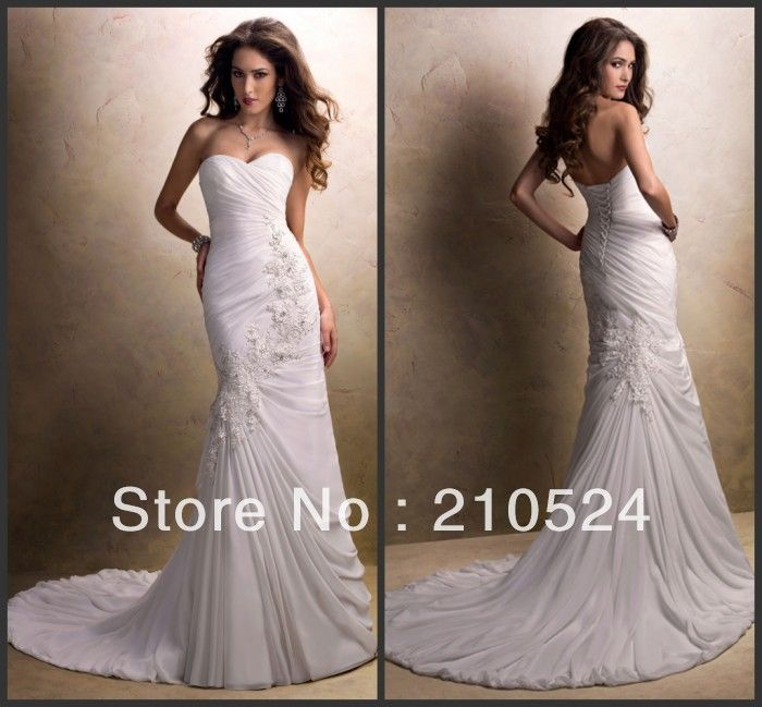 10705 Maggiesottero High quality sweetheart mermaid pleated with appliques unique wedding dresses US $154.00