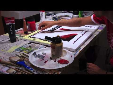 Peinture Abstraite Youtube Abstract Acrylic Painting Demo Hd Video