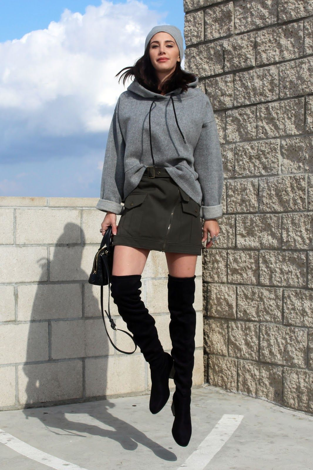 Over Knee Boots Hoodie Army Green Mini Skirt Street