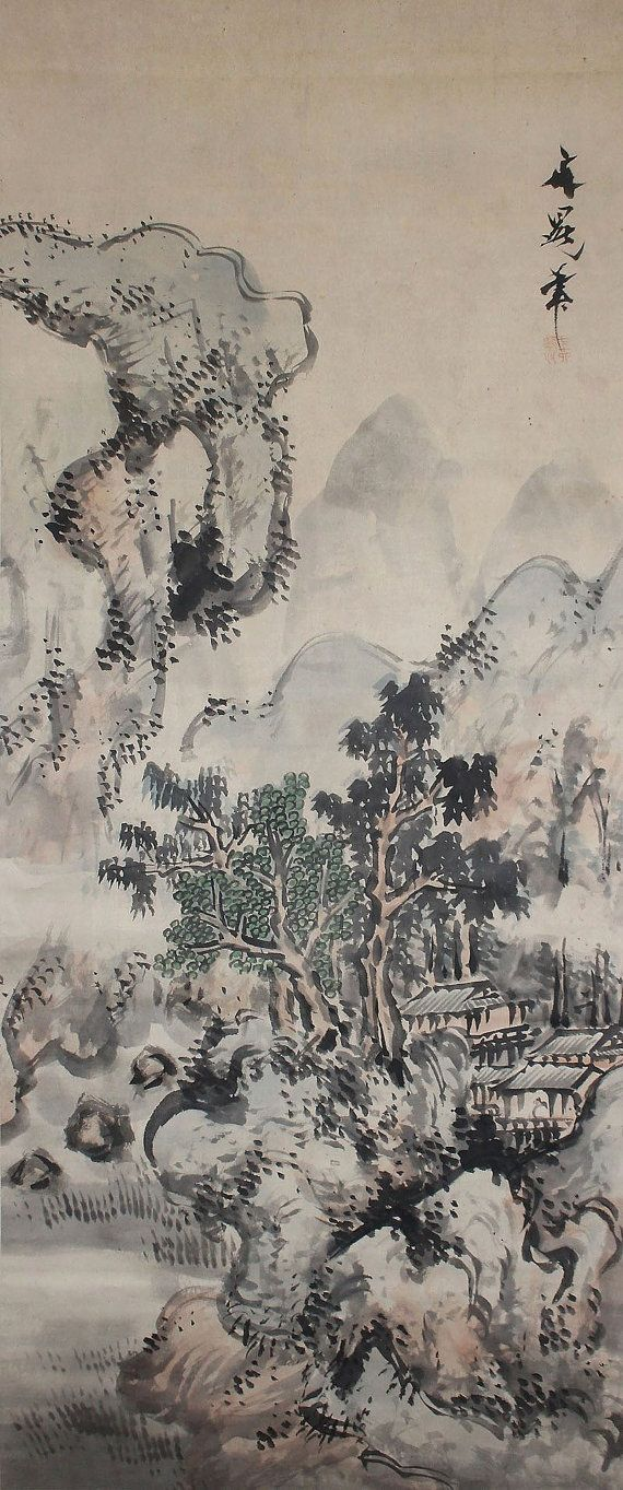Landscape By Tani Buncho Japanese Hanging Scroll Painting