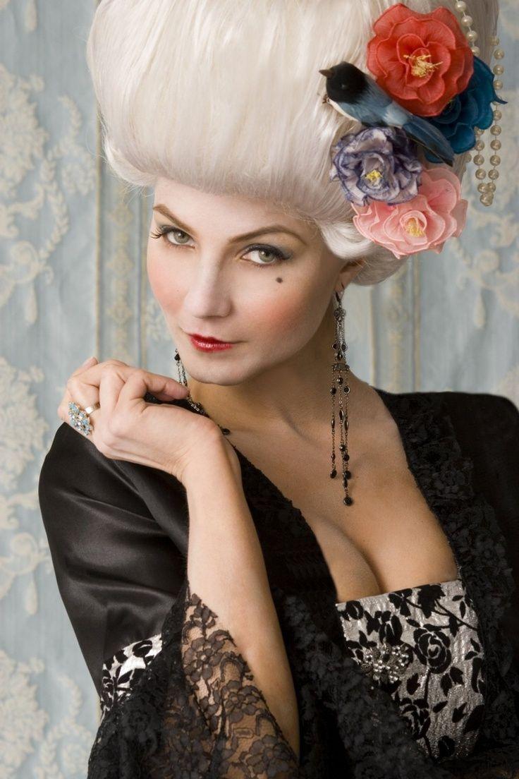 le boudoir, princesse, romantique, robe, marquise, femme, maquillage, coiffure