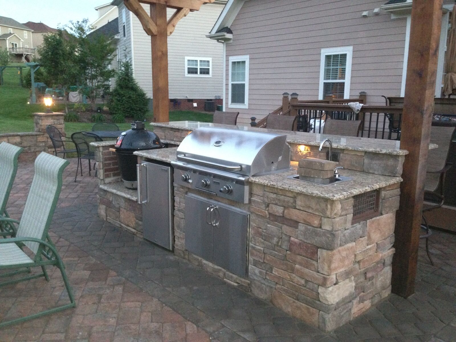 Island With Smoker Fridge 36 Grill Sink And A Bar Ledge That Is 11 Long Patio Kitchen Outdoor Kitchen Outdoor Cooking