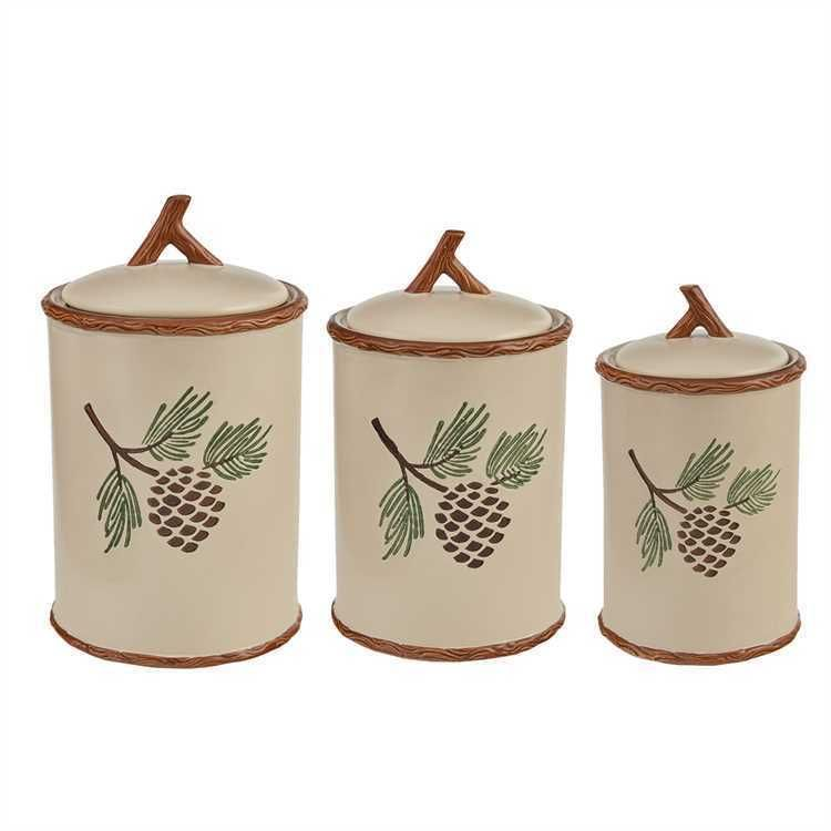 PARK DESIGNS PINECROFT PINECONE SET OF 3 CERAMIC CANISTERS NEW IN BOX