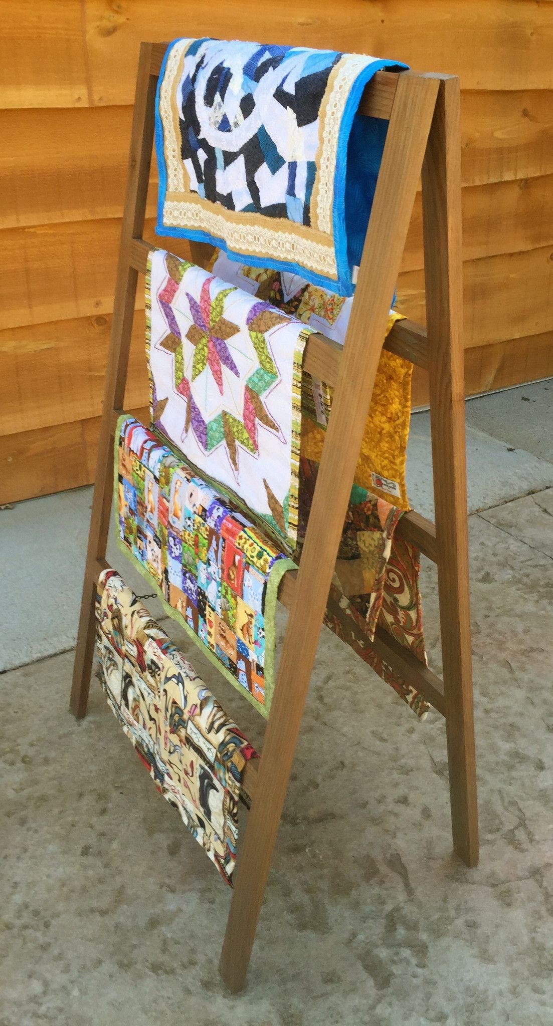 4 Tier Quilt Rack- A-Frame Ladder Style, Folds Flat For