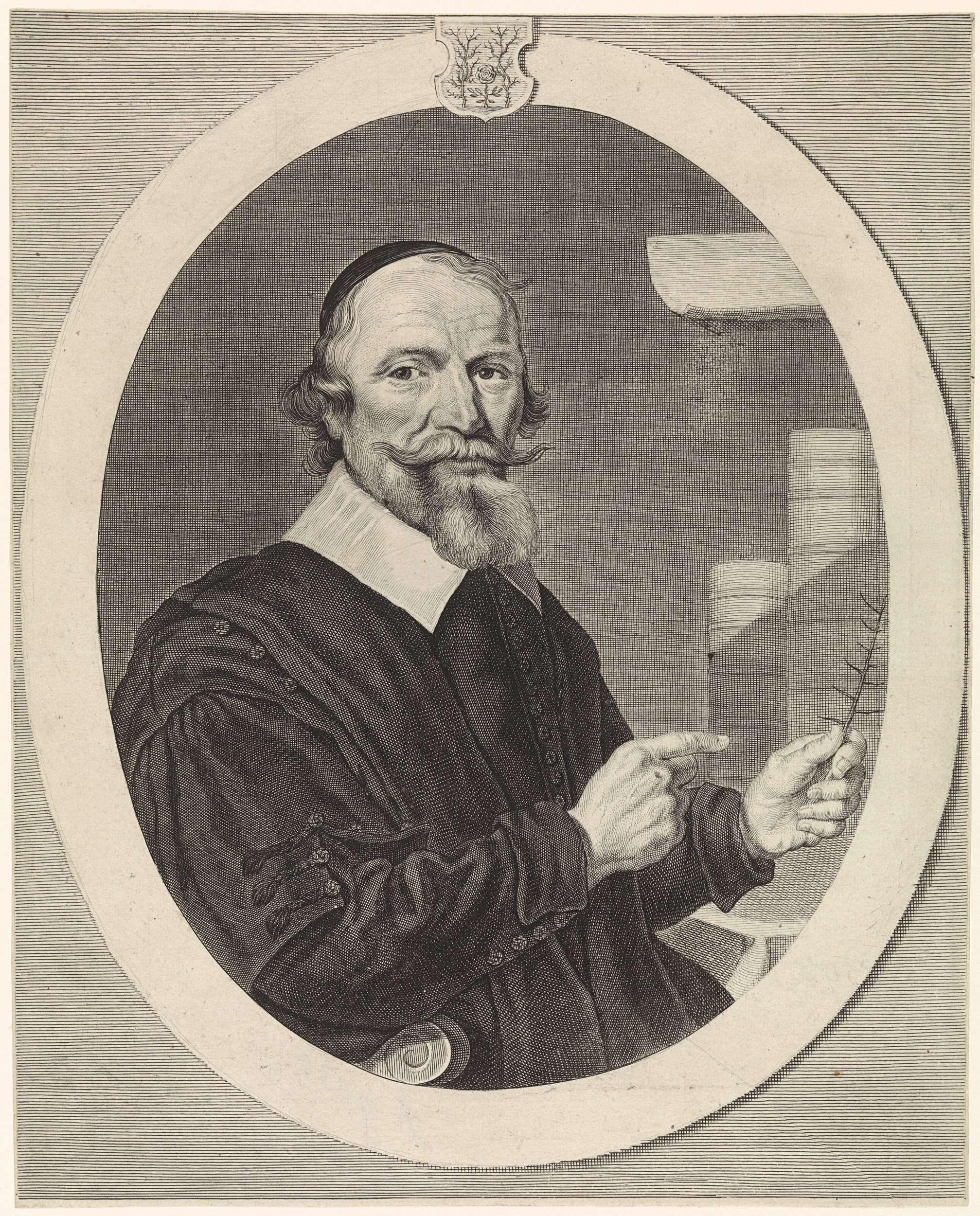 Theodor Matham | Portret van Timotheus de Sayer, Theodor Matham, 1658 - 1676 | Portret van Timotheus de Sayer, pastoor in het Gooiland.