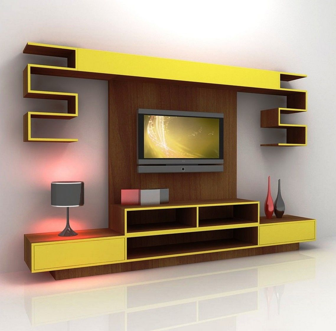 Wonderful White Brown Yellow Wood Cool Design Wall Screen Flat Tv ...