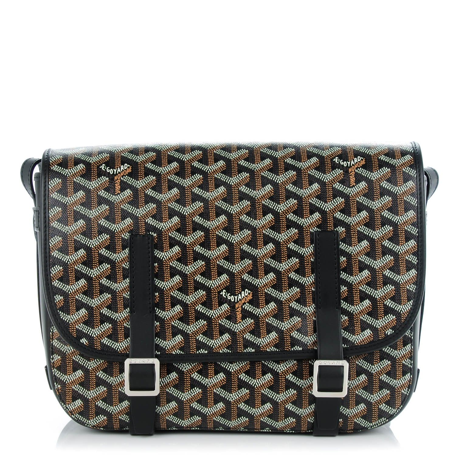 e3ad1f67337d This is an authentic GOYARD Chevron Belvedere MM Messenger Bag in Black.  This…