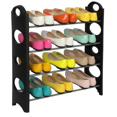 Rebrilliant 4 Tier Plastic 12 Pair Stackable Shoe Rack Ventas Zapatero