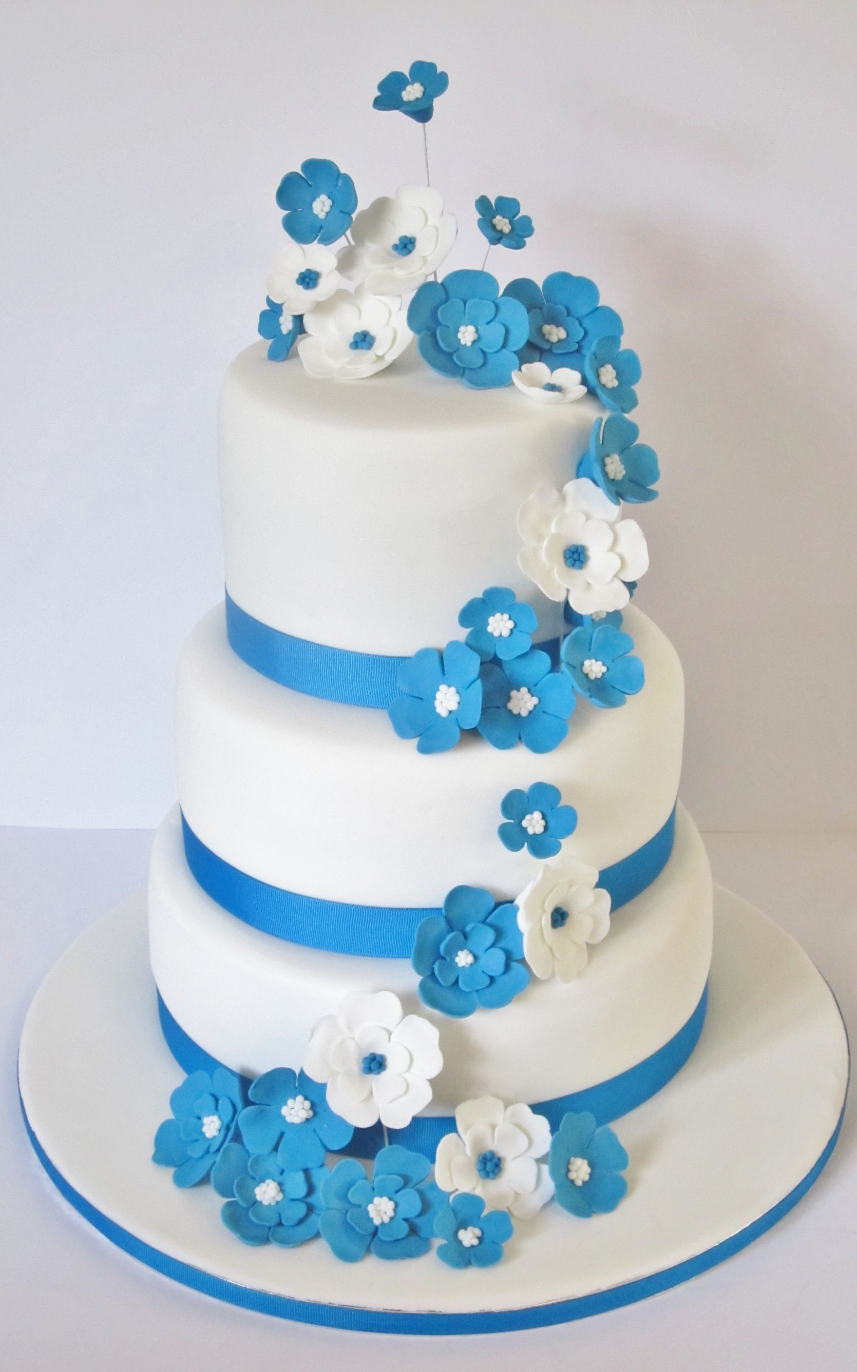 Blue And White Three Tier Wedding Cake