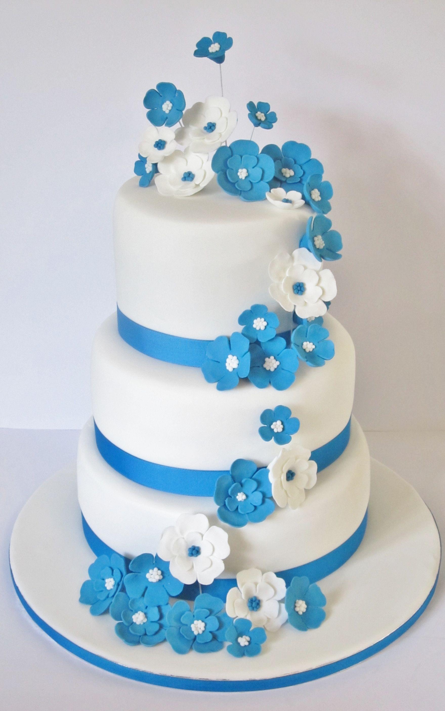 Blue And White Three Tier Wedding Cake