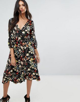 a645b4909a6a Boohoo Floral Wrap Midi Dress With Tie Sleeve Detail | ~*stylez*~ in ...
