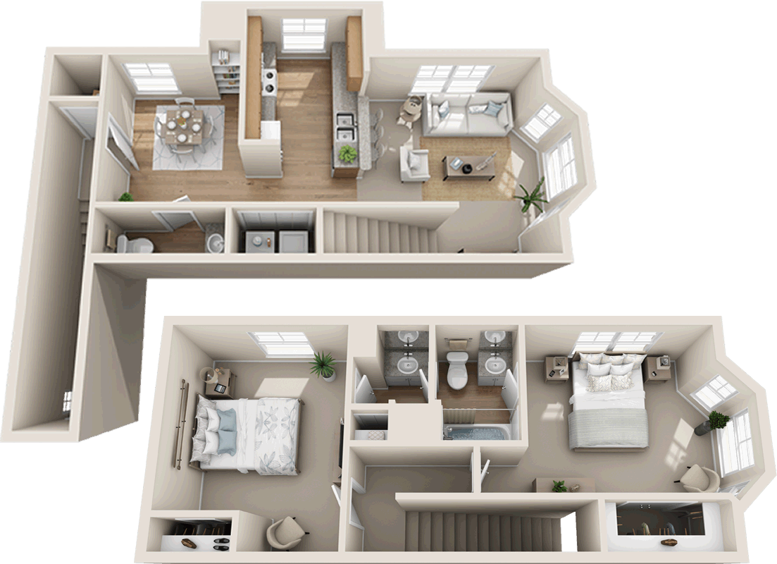 Two Bedroom Two And 1 2 Bath Townhome 1 044 Sq Ft House Layout Plans Small House Plans Apartment Floor Plans