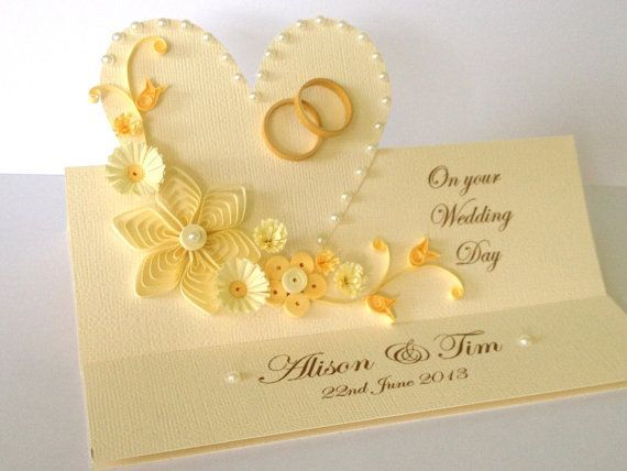 Items Similar To Handmade Paper Quilled Wedding Day Congratulations Card