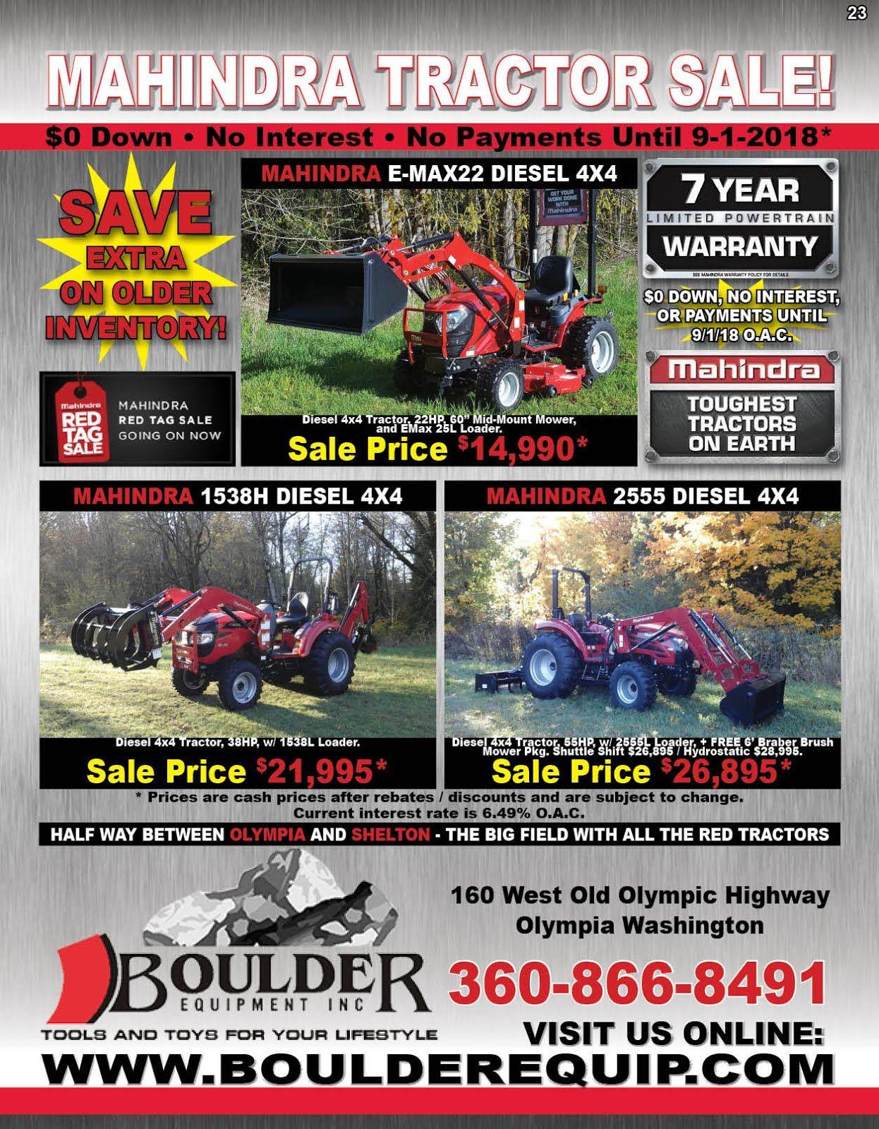 Boulder Equipment Mahindra Tractor Sale Tractors For Sale Mahindra Tractor Equipment Trailers