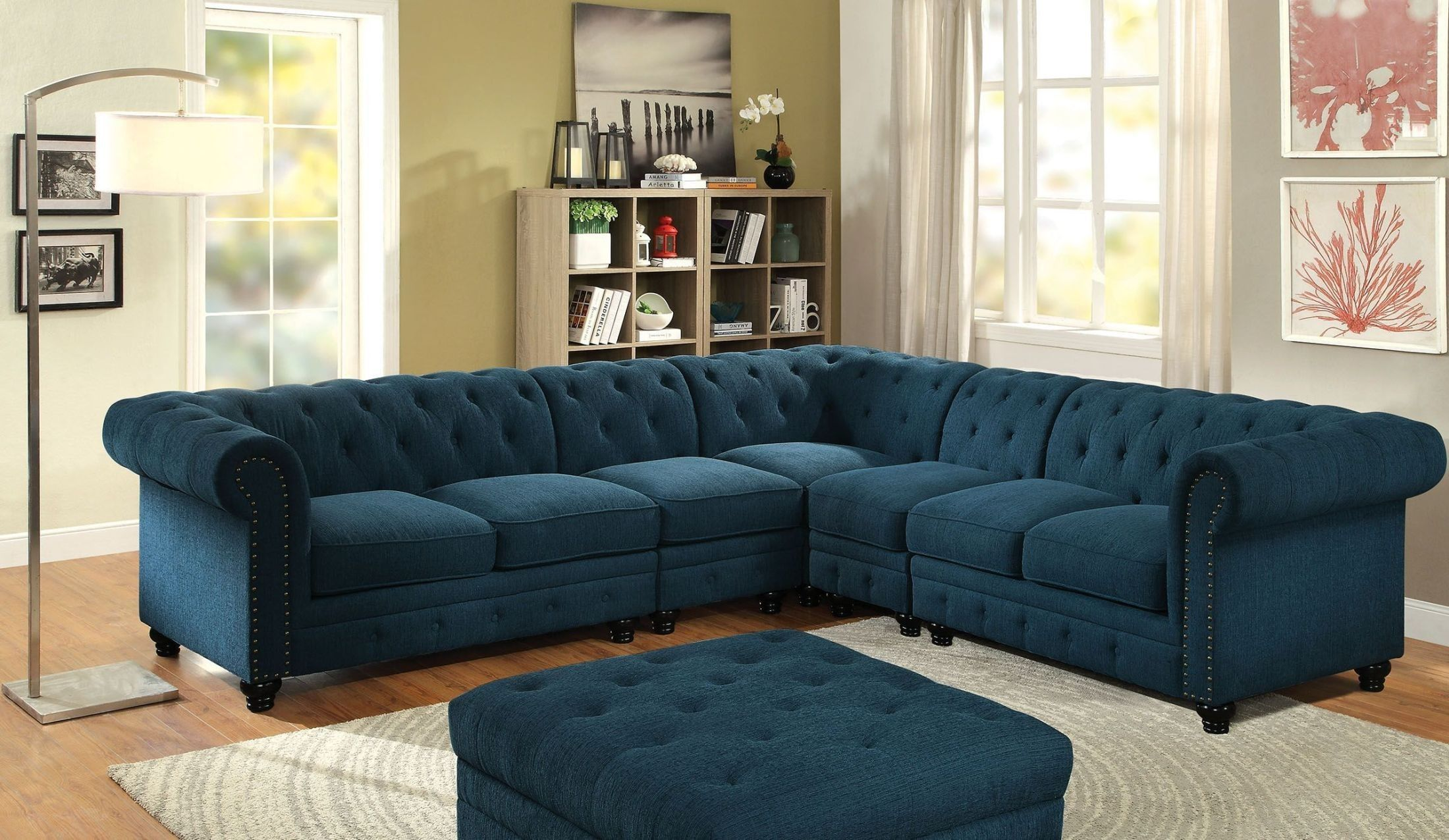 Stanford Ii Dark Teal Large Sectional Fabric Sectional Sofas Sectional Sofa Sofa Set