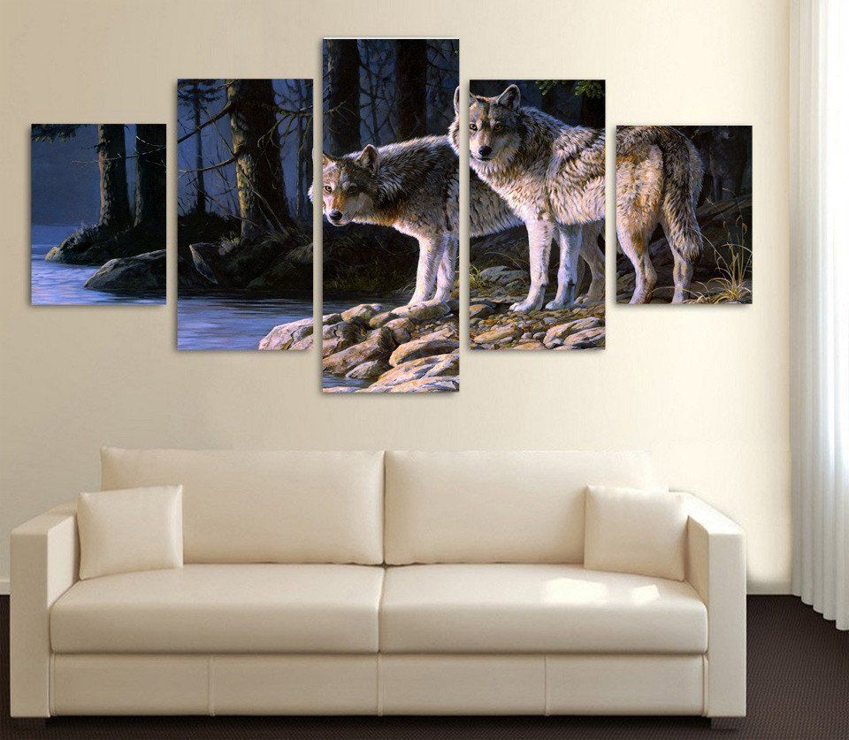 limited edition 2 wolves 5 piece canvas print wolf canvases and limited edition 2 wolves 5 piece canvas print