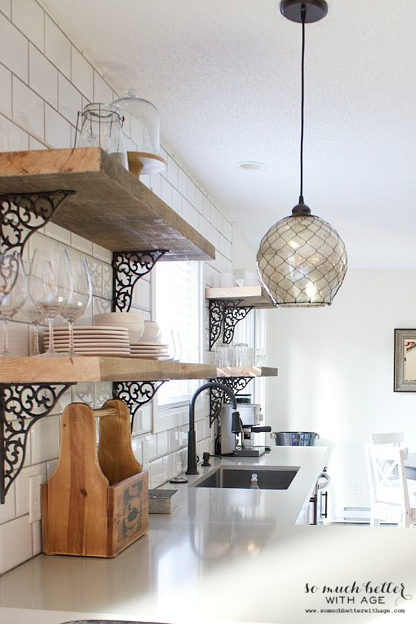 Rustic Industrial Kitchen Shelves So Much Better With Age Rustic Industrial Kitchen Kitchen Style Home Decor Kitchen