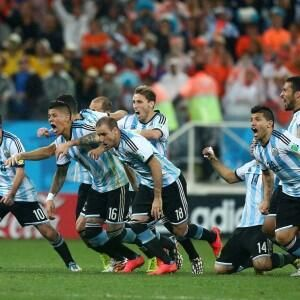 Argentina celebrate their win on penalty kicks.