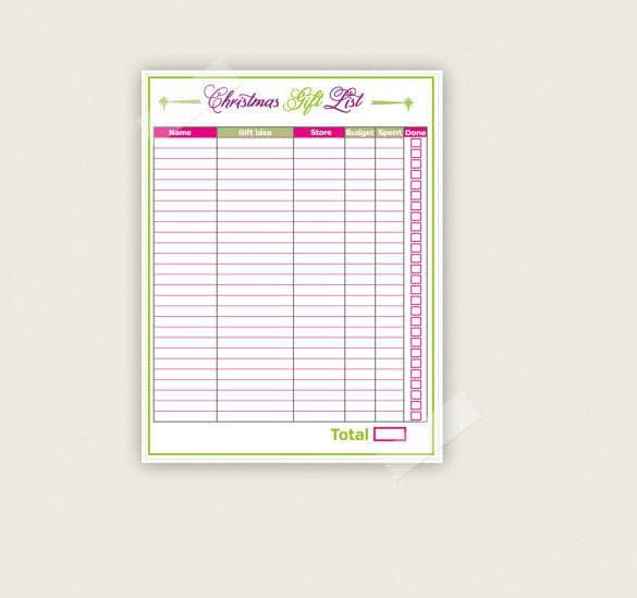 Gift List Christmas Template PDF Printable Download , 24+ - christmas list templates