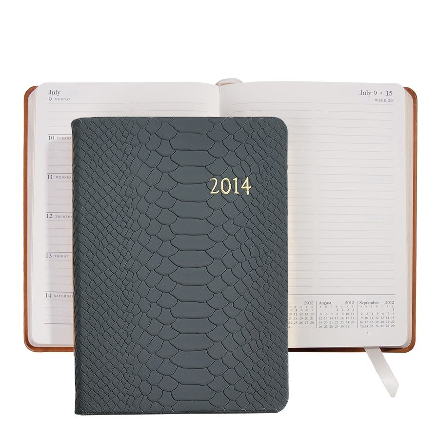 Grey Embossed Python Leather Planner