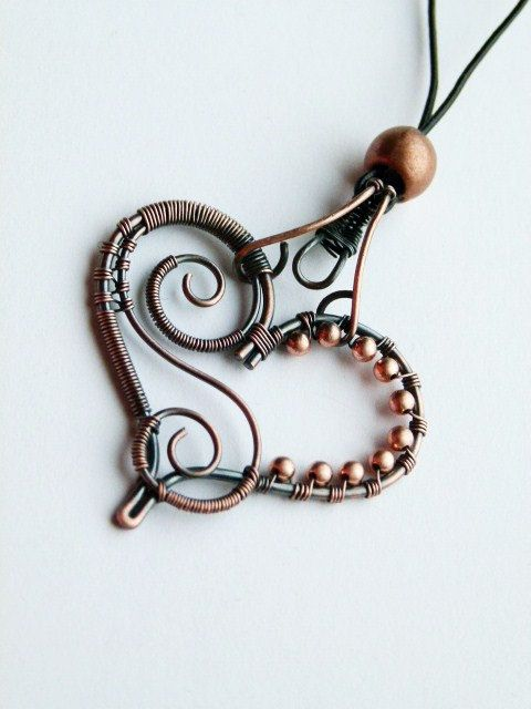 Copper wire wrapped heart pendant with natural thin leather strap ...