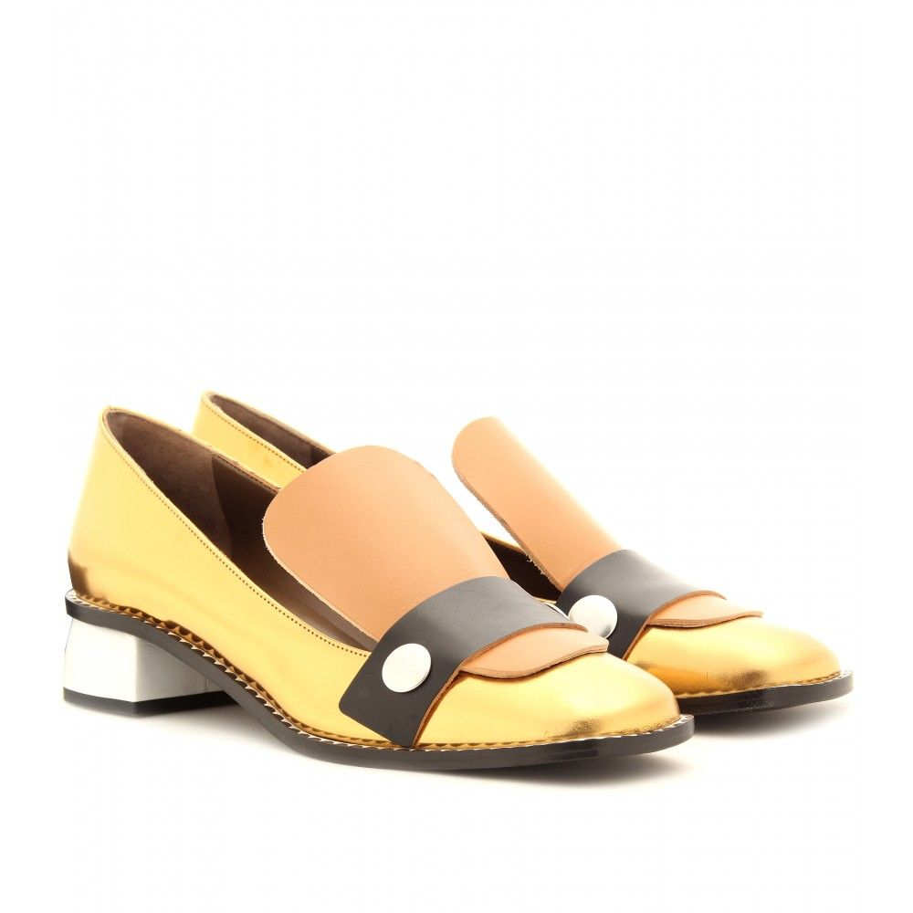 00bd835e700 Marni Leather Loafers with Block Heel in Orange (white)