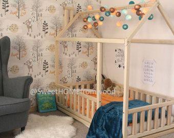 full double kleinkind size bett frame bett von sweethomefromwood kinderzimmer. Black Bedroom Furniture Sets. Home Design Ideas