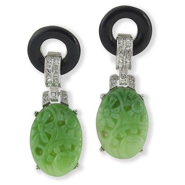 Kenneth Jay Lane Black And Jade Art Deco Clip Earring Black/jade PFBVSgj