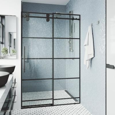 VIGO Pirouette 36 to 42 in. x 72 in. Frameless Pivot Shower Door in Matte Black with Clear Glass and Handle-VG6042MBCL42 - The Home Depot