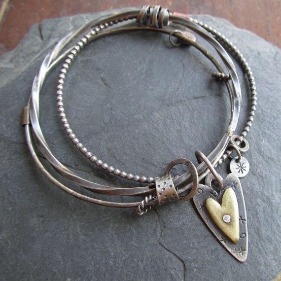 Silver Triple Bangle Bracelet Charm Bangle Bracelet Riveted Mixed Metal Stamped Silver Heart CHANGLE
