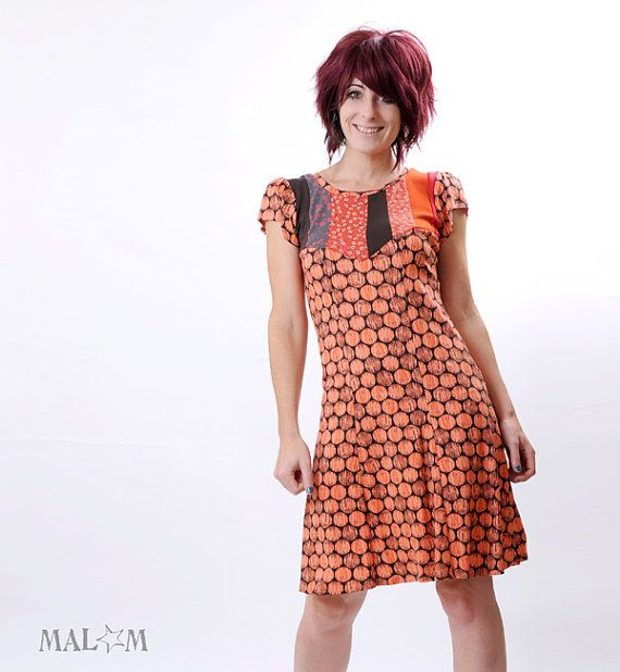 Coral Dress - Orange jersey - Knee-length dress - Coral Dots and patchwork - short sleeves - Fall fashion