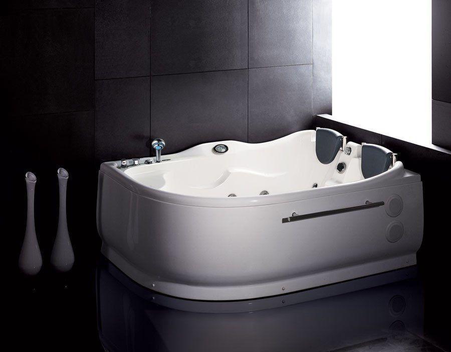 EAGO AM124-L 6\' Double Corner Acrylic White Whirlpool Bathtub ...