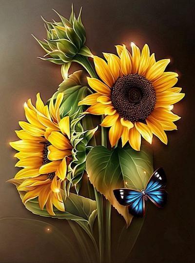 Diy Diamond Painting Paint With Diamonds Brilliant Sunflower Peinture De Tournesol Photos De Tournesol Art Du Tournesol