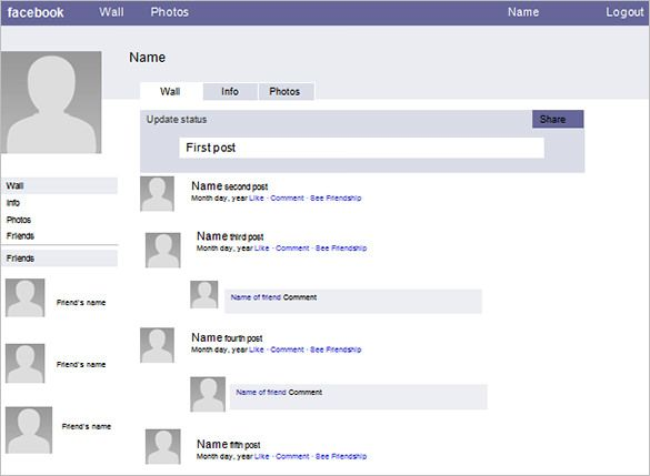 Blank Facebook Layout Template