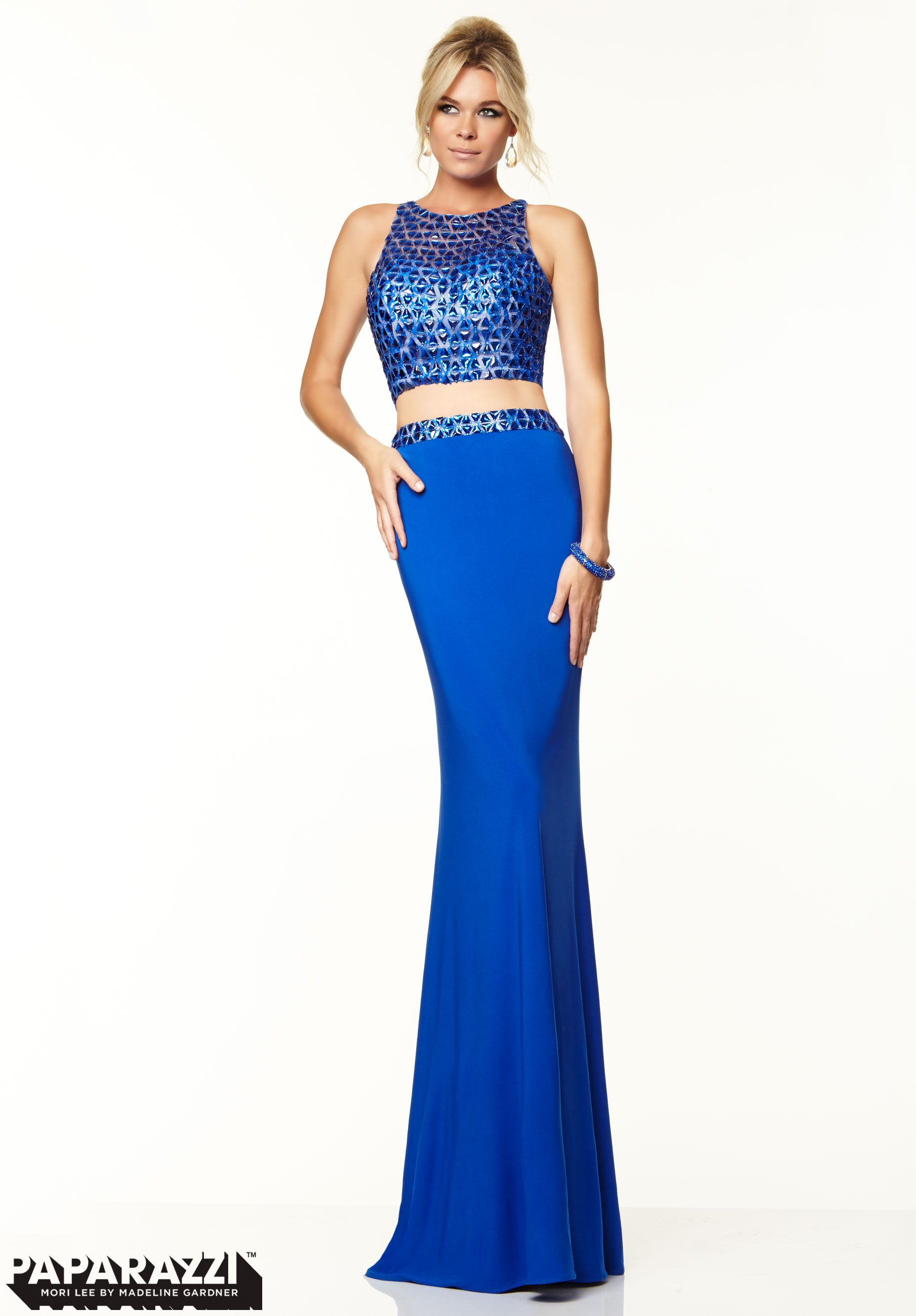Prom dresses gowns style two piece beaded mesh and jersey