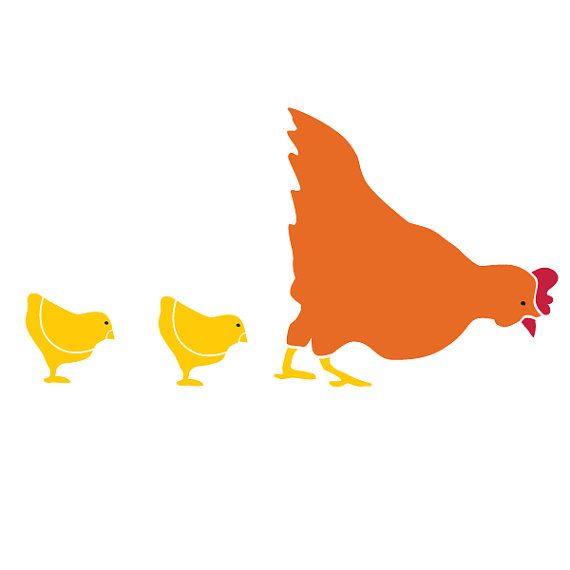 Hen and Chick Wall Stencil for Painting Kids or Baby Room Mural