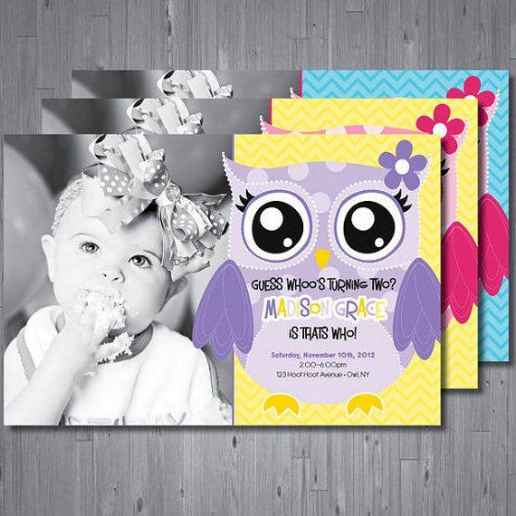 Owl Birthday Invitation, First Birthday Party Invitation
