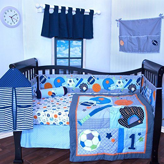 New 7pcs Baby Bedding Set Baseball Baby Boy Sports Crib Bedding Sets Cot Crib Bedding Set Ropa Cuna Quilt Bumper She Crib Bedding Boy Baby Bed Baby Boy Bedding