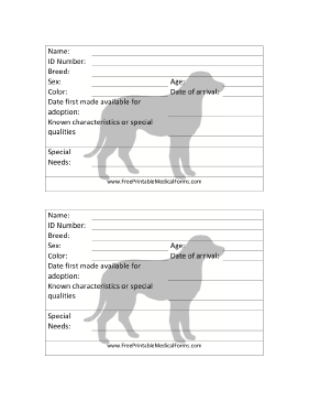 Printable Dog Adoption 4x6 Cage Card Dog Adoption Animal Shelter Free Vet