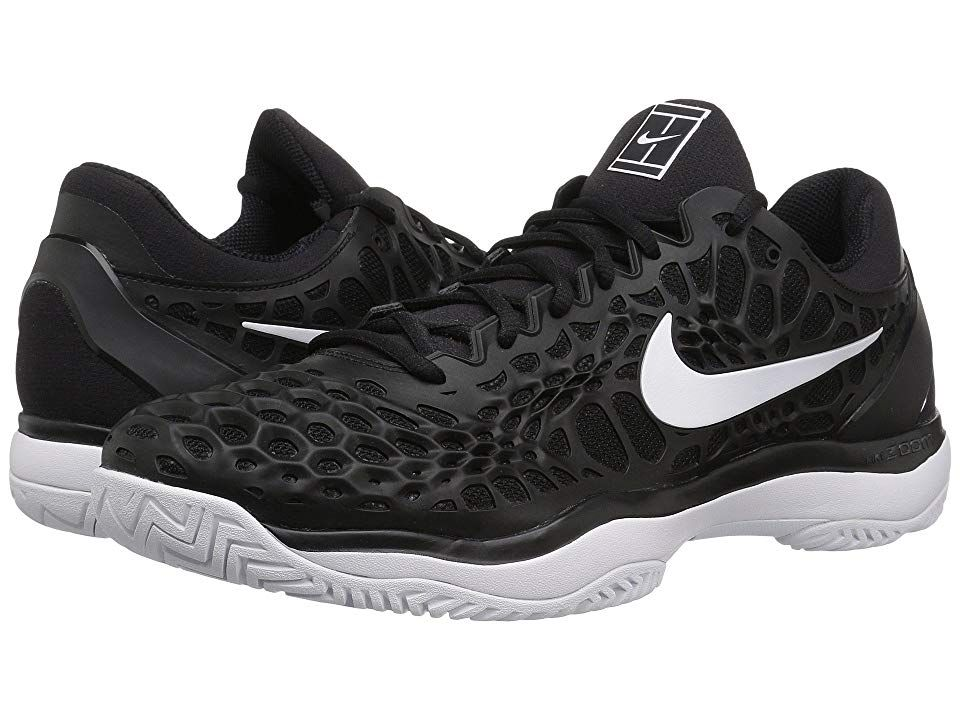 Nike Zoom Cage 3 HC BlackWhiteAnthracite Mens Tennis Shoes Stay light on your feet and ready to dominate in the Nike Zoom Cage 3 HC tennis shoe Designed for hard courts B...