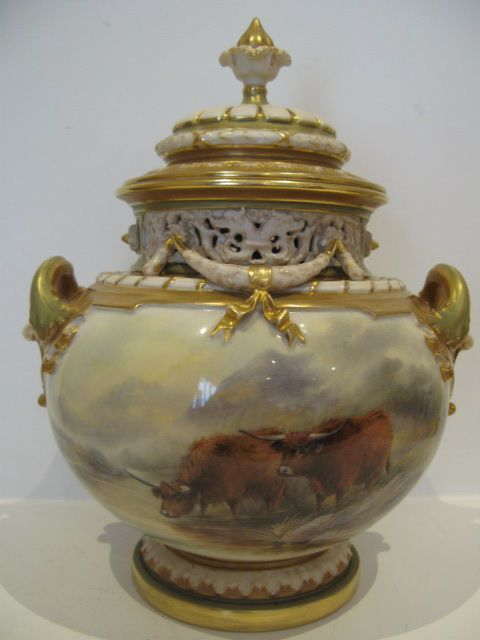 A Royal Worcester Vase And Cover With Cattle Painted Decoration By