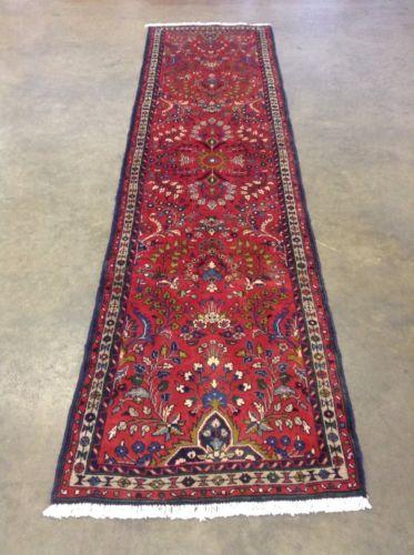 2 7 X 10 Red Navy Green Persian Hamedan Oriental Rug Runner Hand Knotted Wool Oriental Rug Runners Oriental Rug Rug Runner