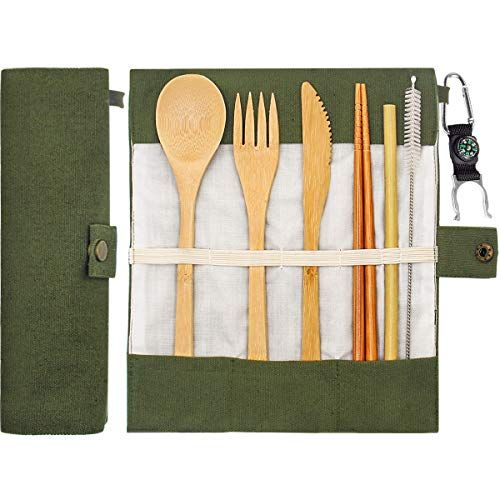 Uk Top Seller Buy One Get One Free Fork Bamboo Cutlery Set Spoon Reusable With Carry Case Knife
