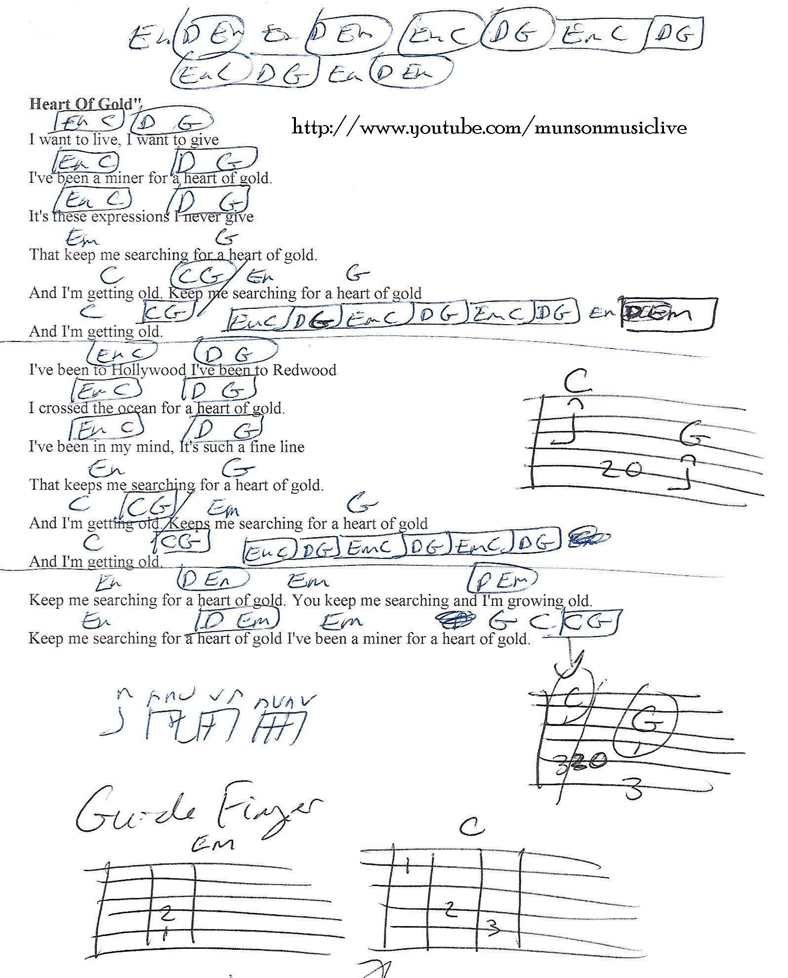 Heart Of Gold Neil Young Guitar Chord Chart Guitar Pinterest